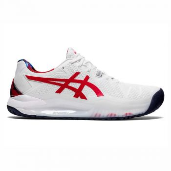 ASICS Gel-Resolution 8 L.E. Tennis Shoes (White/Classic Red)