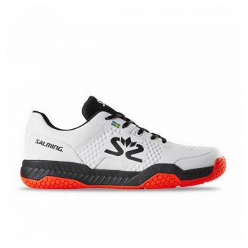 SALMING HawkCourt  Indoor Shoes (White/Black/New FlameRed)